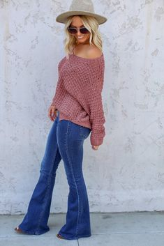 Willow Sweater - FINAL SALE <br> An open knit pullover sweater featuring a wide neck, split sides and an oversized fit. Wear on or off the shoulder for a cute and effortless look! Flare Jeans Outfit, Jeans Outfit Winter, Heels Outfits, Jean Outfits, Cute Outfits, Cute Thanksgiving Outfits, Cowgirl Outfits, Cowgirl Clothing, Cowgirl Fashion