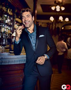 Midnight blue tux on Javier Bardem in GQ October 2012. #menswear