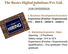Job Opening in The Basics Digital Solutions Pvt. Ltd.  Profiles : 1. Business Development Executive 2. Marketing Executive 3. Test Engineer 4. JAVA Developer 5. Web Designer  Location : Indore Interested candidates can leave their contact numbers or forward updates CV at hr@thebasics.co.in Job Posting, Indore, Java, Numbers, Engineering, Web Design, Positivity, Marketing, Digital