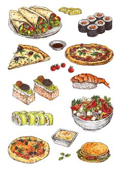Find Illustration Hand Drawing Set Pizza Sushi stock images in HD and millions of other royalty-free stock photos, illustrations and vectors in the Shutterstock collection. Thousands of new, high-quality pictures added every day. Food Graphic Design, Food Design, Food Doodles, Watercolor Food, Watercolour, Food Sketch, Food Painting, Fake Food, Food Drawing