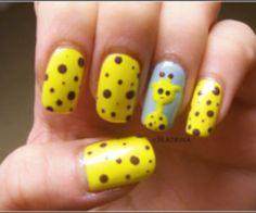 Cute spotted giraffe nails