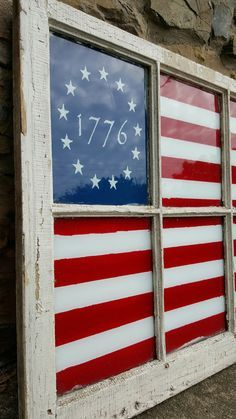 1776 Primitive American Flag Window by OldeStoneHome on Etsy