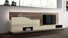 Oak cenário cria contraste maravilhoso de texturas na sala de estar