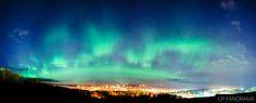 A vivid display of northern lights over Houghton and Hancock, MI.