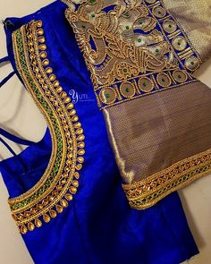 Royal blue bridal blouse with border highlights! For Orders and Queries reach us at / Whatsapp: 7010905260 Address: 21 Valmiki street, thiruvanmyur Hand Work Blouse Design, Simple Blouse Designs, Stylish Blouse Design, Designer Blouse Patterns, Fancy Blouse Designs, Bridal Blouse Designs, Blouse Neck Designs, Aari Work Blouse, Saree Blouse