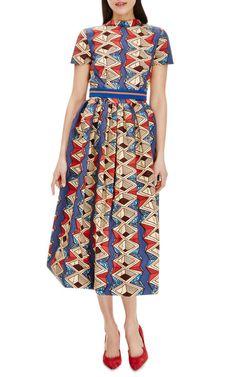 Myrtle Printed Waxed Cotton Party Dress by Stella Jean - Moda Operandi