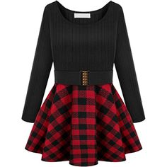 Choies Black Paid Long Sleeve Skater Dress ($40) ❤ liked on Polyvore featuring dresses, vestidos, black, black dress, longsleeve dress, long sleeve dresses, long sleeve black dress and long sleeve skater dress