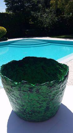 green paper mache large vase eseguo su commissione e spedisco in tutta Italia