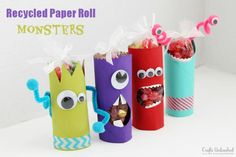 Toilet Paper Roll Crafts Recycled Monster Treat Holders is part of Paper crafts Recycled - win! Fun Projects For Kids, Tin Can Crafts, Fun Crafts For Kids, Diy For Kids, Diy And Crafts, Craft Projects, Craft Kids, Art Crafts, Preschool Crafts