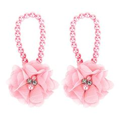 Voberry 1Pair Baby Girls Pearl Chiffon Barefoot Foot Flower Beach Sandals Pink -- See this great product. (This is an affiliate link) #BabyGirlShoes