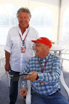 Mario Andretti (USA) with Niki Lauda (AUT).  Formula One World Championship, Rd7, Canadian Grand Prix, Race, Montreal, Canada, Sunday, 10 June 2012