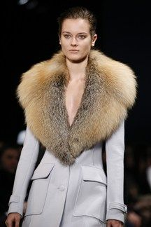 Altuzarra AW15/16 NYFW - we loved this oversize fur collar pale blue coat...x