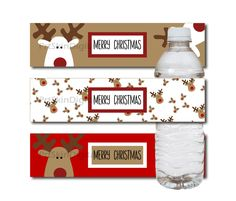 Merry Christmas Reindeer Water Bottle Labels in Red White & Golden Brown - DIY Printable Water Bottle Stickers, INSTANT DOWNLOAD - pinned by pin4etsy.com