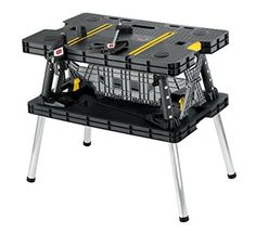 Keter Folding Compact Workbench Sawhorse Work Table with Clamps 1000 lb Capacity - Mini Table Saws Portable Workbench, Folding Workbench, Portable Workstation, Workbench Table, Garage Workbench, Portable Table, Industrial Workbench, Workbench Ideas, Workbench Organization