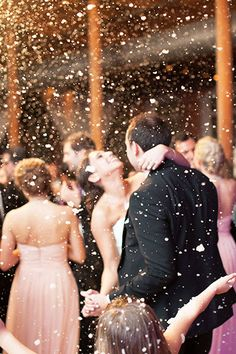 Hosting an indoor reception? A confetti drop or faux indoor snow is such a magical way to close out the wedding celebration — just run it by your venue first.
