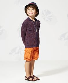 Gucci Kids' SS 2014 Collection: Knit Cotton Cardigan, Mono Paisley Bermuda Short, Leather Sandal and Fedora With Contrast Band