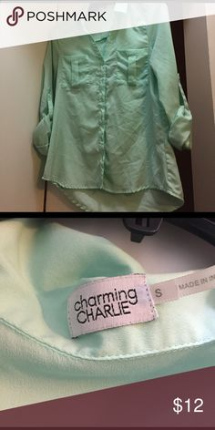 Button down blouse Sea foam green button down blouse. No signs of wear, no stains, no tears. All buttons intact. Size small Charming Charlie Tops Blouses