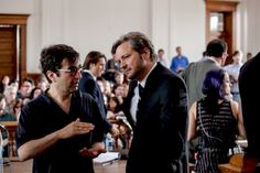 "Atom Egoyan and Colin Firth on the set of ""Devil's Knot"" (2013)"