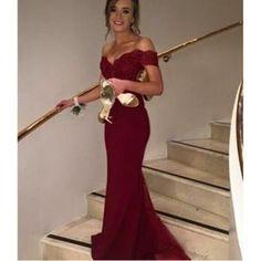 Robe De Soirée,Robe Longue Bordeaux Épaule Bateau Vente Chaude V-Cou-Emilie Vogue…Voir la présentation