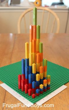 Hands-on Multiplication with Legos (A 3-D Graph) from Frugal Fun for Boys