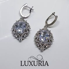 Bride / Bridal Jewellery Drop Dangle Earrings, Diamond Simulant, 925 Sterling Silver.  Luxuria NZ