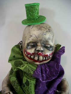 Creepy Prop Doll Little Monster OOAK Altered Art Ghoul Joker Freak Horror Haunted Scary Frightening Weird Halloween By L.Cerrito