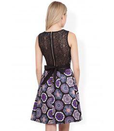 #Closet Lace tie back print dress