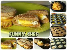 «Милашки-бургеры» с печёной яичницей и сыром на завтрак