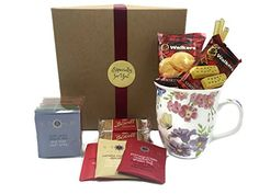 Stash Tea Lover Gift Set with Floral Butterfly Mug, Walkers Shortbread and Biscoff Cookies - Cool Kitchen Gifts