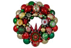 Green, Gold & Red Ornament Wreath | One Kings Lane