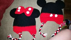 Crochet mickey and Minnie hats