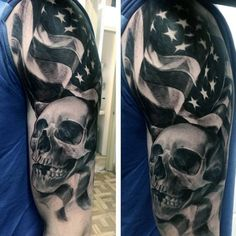 Half Sleeve Black American Flag And Skull Tattoos For Males