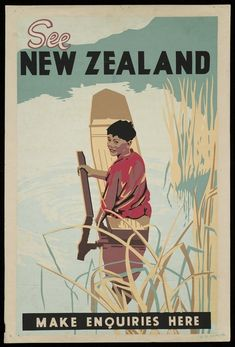 Tourism poster shows a Maori boy using a paddle in a rowboat on a calm stretch of water with long grasses in the foreground. Linocut Prints, Poster Prints, Tourism Images, Posters Australia, Tourism Poster, Nz Art, Kiwiana, New Zealand Travel, Vintage Travel Posters