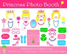 PRINTABLE Princess Photo Booth Props-Photo by HappyFiestaDesign