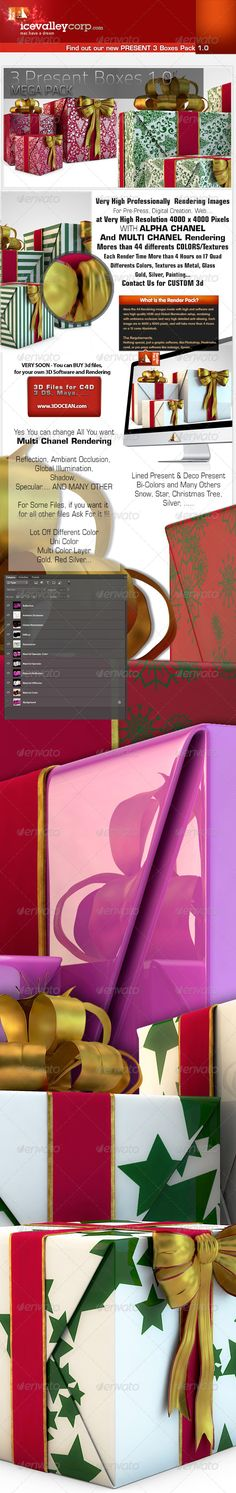3 Present Pack Present Boxes in Hires — Photoshop PSD #toys #bow • Available here → https://graphicriver.net/item/3-present-pack-present-boxes-in-hires/6171073?ref=pxcr