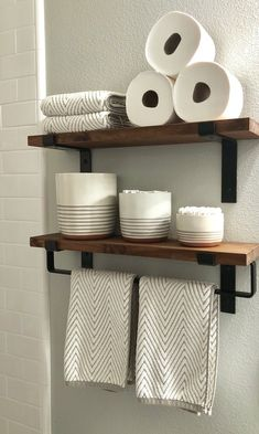 Metal Towel Bar with shelf brackets for complete bathroom shelving
