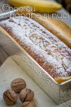 Un chec pufos si aromat, intr-o combinatie perfecta de ingrediente!         Ingrediente:   250 gr faina   2 oua   200 gr zahar bru... Loaf Cake, Sweets Recipes, Sweet Bread, Cake Cookies, Hot Dog Buns, Banana Bread, Deserts, Food And Drink, Baking