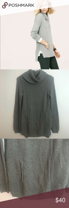"""Lou & Grey Gray Drapeneck Tunic Sweater Size XS Excellent condition. Super comfy tunic sweater with a kangaroo pocket on front. Sold out online! Size XS. Measurements taken laid flat: bust approximately 17"""", length approximately 28"""", Waist approximately 16"""", Sleeves approximately 19"""" Lou & Grey Sweaters Cowl & Turtlenecks"""