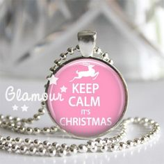 Keep Calm Its Christmas Pink Reindeer Silver Bezel Glass Tile Pendant