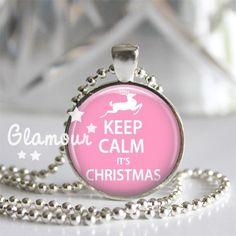 Keep Calm Its Christmas Pink Reindeer Silver Bezel Glass Tile Pendant | c0nfus3dgurl - Jewelry on ArtFire