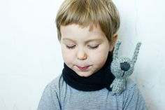 Black scarf with gray hare by tutseetoy on Etsy