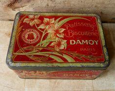 Antique Art Nouveau French biscuit tin
