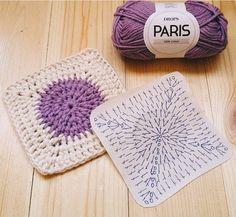 * نقشه - قلاب بافی Seleccione Desde el Acceso a Internet sin es mi propio Trabajo, Pero Esto Es Una gran idea. Granny Square Crochet Pattern, Crochet Chart, Crochet Squares, Crochet Basics, Crochet Granny, Baby Blanket Crochet, Granny Squares, Manta Crochet, Crochet Mandala