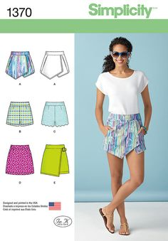 misses asymmetric skort with pockets or mini skirt with buckle, shorts with or   without scalloped overlay and mini skirt are must haves for this season. all have back zipper. simplicity sewing pattern by in   k.<p>