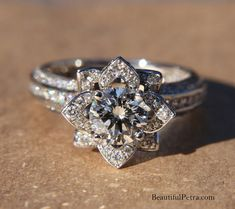 UNIQUE Flower Rose Diamond Engagement or Right by BeautifulPetra