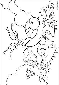 kleurplaat slakken / coloriage-animaux-escargot Insect Coloring Pages, Indoor Recess, Painting For Kids, Snail, Hedgehog, Bugs, Mandala, Preschool, Creatures