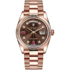 Rolex Day-Date 36mm Everose Gold Fluted Bezel 118235 Chocolate Diamond... ($30,381) ❤ liked on Polyvore featuring jewelry, watches, gold jewellery, polish jewelry, gold wristwatches, rolex and chocolate diamond jewelry