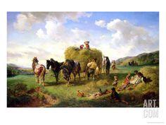 The Hay Harvest, 1869 Giclee Print by Hermann Kauffmann at Art.com