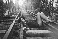 Esa Lilly Photography 2013. LAG campaign model Silje.  train tracks, bw, model,