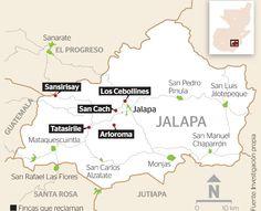Dentro del región territorial que se encuentras ubicados lo xincas son: San Juan Tecuaco, Santa María Ixhuatán, Guazacapán, Chiquimula, Jumaytepeque, Taxisco, Santa Rosa, Yupiltepeque, Jalapa y Jutiapa. Otro ejemplo de os municipios que estan ubicados es  de Santa Rosa: -Departamento de Santa Rosa 1. Chiquimula (10) 2. Guazacapán (100-200 hablantes como lengua materna, todos de edad avanzada) 3. Jumaytepeque  (menos de 10 hablante los cuales todos son mayores de edad) Clave:26